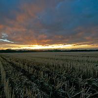 The sun sets over a field in the Gallatin Valley near Bozeman, Montana.