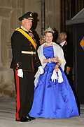 Gala dinner on the occasion of the civil wedding of Grand Duke Guillaume and Princess Stephanie at the Grand-Ducal palace in Luxembourg <br /> <br /> On the photo: King Harald V and Queen Sonja of Norway
