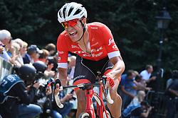 August 19, 2018 - Geraardsbergen, BELGIUM - Belgian Jasper Stuyven of Trek-Segafredo pictured in action at the Muur Kapelmuur during the final stage of the Binkcbank Tour cycling race, 209,5 km from Lacs de l'Eau d'Heure to Geraardsbergen, Belgium, Sunday 19 August 2018. BELGA PHOTO DAVID STOCKMAN (Credit Image: © David Stockman/Belga via ZUMA Press)
