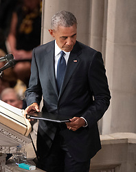 Former United States President Barack Obama completes his remarks at the funeral service for the late US Senator John S. McCain, III (Republican of Arizona) at the Washington National Cathedral in Washington, DC, USA on Saturday, September 1, 2018. Photo by Ron Sachs/CNP/ABACAPRESS.COM