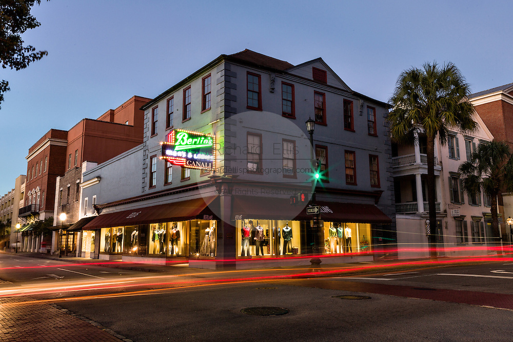 Light streaks by passing cars along Broad Street at twilight in historic Charleston, SC.
