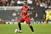 Grimsby Town midfielder John Welsh (4) sprints forward with the ball during the EFL Sky Bet League 2 match between Milton Keynes Dons and Grimsby Town FC at stadium:mk, Milton Keynes, England on 21 August 2018.