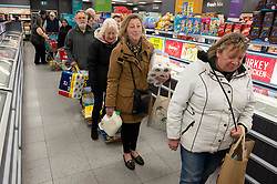 ©Licensed to London News Pictures 18/03/2020<br /> Petts Wood, UK. Elderly customers queuing this morning at the Iceland store in Petts Wood, Greater London. Iceland stores in the UK have allocated the first two hours of a trading day to the over sixty fives and the vulnerable because of the impact of Coronavirus on food supplies. Photo credit: Grant Falvey/LNP