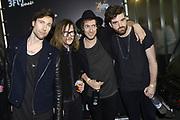 De 3FM Awards 2014 in de Gashouder, Amsterdam.<br /> <br /> Op de foto:  De Nederlandse rockformatie Kensington - Casper Starreveld , Eloi Youssef , Niles Vandenberg , Jan Haker wint de award voor beste artiest rock