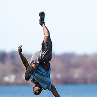 Boys and Girls Club dance teacher Zeipharr Whitley (left) cranked up the music at Onondaga Park Monday, April 6, 2020 to make new dance moves for his online videos to help his students until he can perform with them again.
