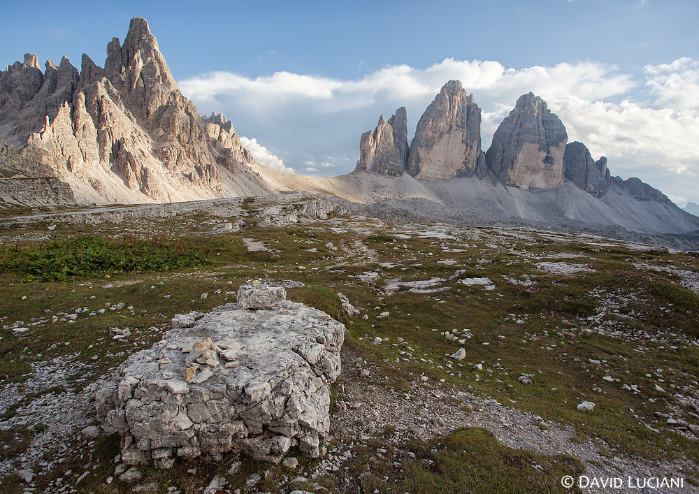 Monte Paterno on the left, and the Tre Cime di Lavaredo, the most famous mountain group in the Sexten Dolomites.