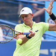KEVIN ANDERSON hits a forehand during the men's singles final at the Citi Open at the Rock Creek Park Tennis Center in Washington, D.C. Anderson lost to Alexander Zverev 6-4, 6-4.
