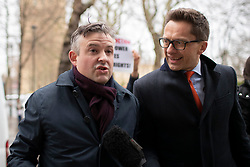 © Licensed to London News Pictures. 10/12/2019. London, UK. Shadow Secretary of State for Health and Social Care Jon Ashworth talks to the media as he arrives at Millbank .  Photo credit: George Cracknell Wright/LNP