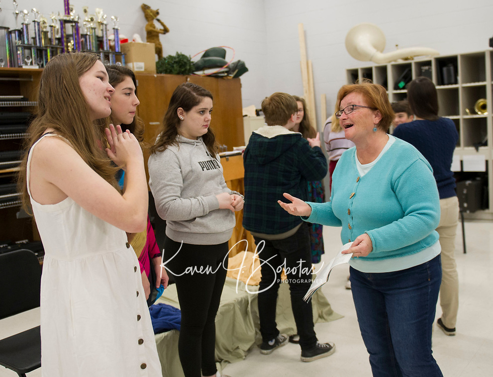 While Shakespeare Slept rehearsal at Belmont High School.  Karen Bobotas for the Laconia Daily Sun