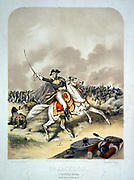 Anglo-American War 1812-1815 (War of 1812):  General Andrew Jackson (1767-1845) at the Battle of New Orleans 8 January 1815, mounted on white horse, leading the American forces to victory in this, the last major battle of the war.  Coloured lithograph by C Severin, c1856.