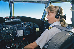First Officer Getting Ready For Take Off, BAC 111 401-AK