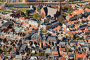 Nederland, Friesland, Gemeente Sudwest-Fryslan, 16-04-2012; Bolsward (Boalsert), centrum met Satdhuis en Sint-Franciscuskerk (midden, baksteen)..Frisian city of Bolsward..luchtfoto (toeslag), aerial photo (additional fee required).foto/photo Siebe Swart