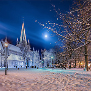 I was lucky enough to see this beautiful scenary in righ moment and right sky mood over the Nidaros cathedral. Thanks to the Moon for its help :)