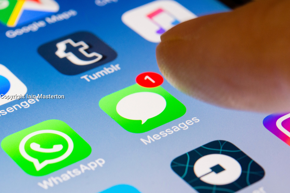 Apple Messages app close up on iPhone smart phone screen