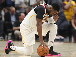 October 17, 2017 - Cleveland, OH, USA - The Cleveland Cavaliers' Dwyane Wade takes a moment while medical officials asses Boston Celtics forward Gordon Hayward's injury in the first quarter on Tuesday, Oct. 17, 2017, at Quicken Loans Arena in Cleveland. (Credit Image: © Leah Klafczynski/TNS via ZUMA Wire)