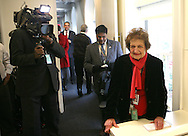 Helen Thomas, returns to the White House after an illness.  Photograph by Dennis Brack