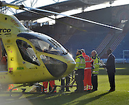Chris Pwell manage of Huddersfield Town shows his concern for player Tommy Smith who is air lifted to hospital after the Sky Bet Championship match at the John Smiths Stadium, Huddersfield<br /> Picture by Graham Crowther/Focus Images Ltd +44 7763 140036<br /> 31/01/2015