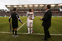 01 December 2012: Los Angeles' David Beckham (ENG) (23) subs out of the game for Marcelo Sarvas (BRA) (8) and fourth official Hilario Grajeda (left) and LA head coach Bruce Arena wait. The Los Angeles Galaxy played the Houston Dynamo at the Home Depot Center in Carson, California in MLS Cup 2012. Los Angeles won the game 3-1.