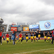 New York Red Bulls players celebrate victory at the end of the game during the New York City FC Vs New York Red Bulls, MSL regular season football match at Yankee Stadium, The Bronx, New York,  USA. 28th June 2015. Photo Tim Clayton