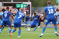 AFC Wimbledon striker Andy Barcham (17) with a chance during the EFL Sky Bet League 1 match between AFC Wimbledon and Coventry City at the Cherry Red Records Stadium, Kingston, England on 11 August 2018.