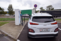 Electric car charging point, Southern France 2021