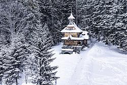 THEMENBILD - die Herz-Jesu-Kapelle in der Winterlandschaft, aufgenommen am 18. Januar 2019 in Zakopane, Polen // the Sacred Heart Chapel in the winter landscape, Zakopane, Poland on 2019/01/18. EXPA Pictures © 2019, PhotoCredit: EXPA/ JFK