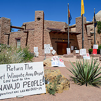 081114  Adron Gardner<br /> <br /> Signs denoting opposition to the proposed legislation dividing the Fort Wingate land between Navajo and Zuni tribes crowds the Navajo Nation Tribal Council chambers in Window Rock Monday.