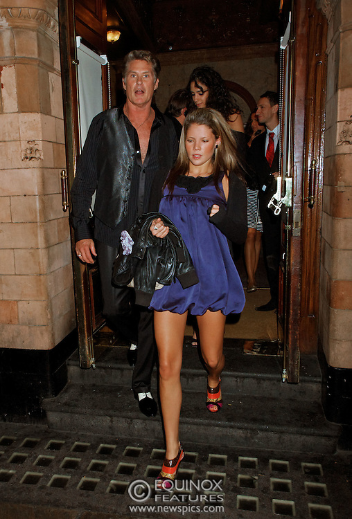 London, United Kingdom - 30 September 2009.EXCLUSIVE PICTURES - David Hasselhoff with friends and a girl believed to be one of his daughters leaving the Palace Theatre after seeing Priscilla Queen of the Desert, Soho, London, England, UK on 30 September 2009..(photo by: EDWARD HIRST/EQUINOXFEATURES.COM).Picture Data:.Photographer: EDWARD HIRST.Copyright: ©2009 Equinox Licensing Ltd. +448700 780000.Contact: Equinox Features.Date Taken: 20090930.Time Taken: 221436+0000.www.newspics.com