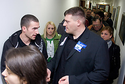 Damjan Zlatnar and Miroslav Vodovnik when Slovenian athletes and their coaches sign contracts with Athletic federation of Slovenia for year 2009,  in AZS, Ljubljana, Slovenia, on March 2, 2009. (Photo by Vid Ponikvar / Sportida)