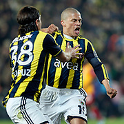 Fenerbahce's Alexsandro de Souza (R) celebrate his goal with team mate during their Turkish superleague soccer derby match Fenerbahce between Galatasaray at Sukru Saracaoglu stadium in Istanbul Turkey on Saturday 17 March 2012. Photo by TURKPIX