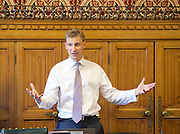 """Chris Philp launches a new report in conjunction with the High Pay Centre entitled """"Restoring Responsible Ownership"""" at The House of Commons, Westminster, London, Great Britain on 5th September 2016. <br /> <br /> Christopher Ian Brian Mynott Philp is a British entrepreneur and Conservative Party politician. He was elected in May 2015 as the Member of Parliament for Croydon South.<br /> <br /> Introductory comments from Stefan Stern director of the High Pay Centre & Financial Times columnist. <br /> <br /> Co-hosted by The Right Honourable<br /> The Lord Myners CBE<br /> Paul Myners ex-Financial Services Secretary.<br /> <br /> <br /> <br /> <br /> Photograph by Elliott Franks <br /> Image licensed to Elliott Franks Photography Services"""