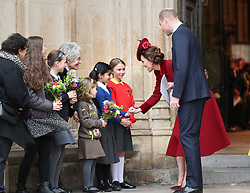 The Duke and Duchess of Cambridge eaving after the Commonwealth Service at Westminster Abbey, London on Commonwealth Day. The service is the Duke and Duchess of Sussex's final official engagement before they quit royal life.