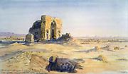 City of tombs looking towards Sakkara and Cairo', 1863.   Charles Vacher (1818-1883), British artist. Landscape Ancient Egypt Archaeology Ruins Death Burial Saqqara