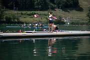 """Lucerne, SWITZERLAND, 12th July 2018, Thursday, Canadian, Double Scull, """"Boating"""" , Oars, Blades on the pontoon. General View, FISA World Cup III, Lake Rotsee, © Peter SPURRIER,"""