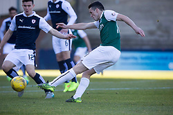 Hibernian's John McGinn scoring their first goal. <br /> Half time : Raith Rovers 0 v 1 Hibernian, Scottish Championship game played 24/10/2015 at Starks Park.