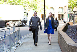© Licensed to London News Pictures. 27/05/2015. London, UK. Former UBS and Citigroup trader Tom Hayes and his wife Sarah arrive at Southwark Crown Court in London. Tom Hayes appears charged with eight counts of conspiracy to defraud in relation to alleged manipulation and rigging of the Libor rate. Photo credit : Vickie Flores/LNP