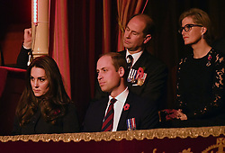 The Duke and Duchess of Cambridge and the Earl and Countess of Wessex attend the annual Royal Festival of Remembrance at the Royal Albert Hall in London.
