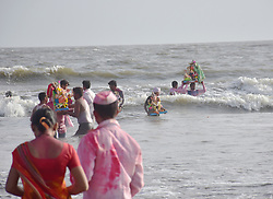 August 31, 2017 - Mumbai, Maharashtra, India - 7th day immersion of Lord Ganesha festival at Versova beach in Mumbai. (Credit Image: © Azhar Khan/Pacific Press via ZUMA Wire)