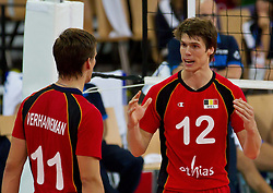 10.09.2011, AUT, Olympiaworld Innsbruck, CEV Volleyball Europa Meisterschaft 2011, Eurovolley, Belgien vs Italien, im Bild Matthijs Verhanneman, (Belgien #11) und Gert van Walle, (Belgien #12), during the CEV Volleyball European Championship Man 2011, Olympiaworld sports hall Innsbruck, Belgium vs Italy, EXPA Pictures © 2011, PhotoCredit: EXPA/ P.Rinderer