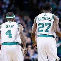 18 March 2013: Boston Celtics shooting guard Jason Terry (4) and Boston Celtics shooting guard Jordan Crawford (27) are seen during the Miami Heat 105-103 victory over the Boston Celtics at the TD Garden, Boston, Massachusetts, USA.