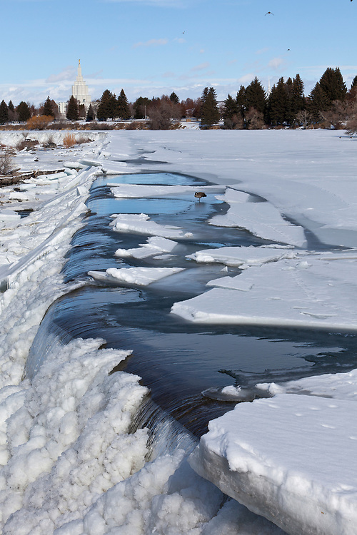 Licensing - Open Edition Prints <br /> Manmade dam on the Snake River in downtown Idaho Falls in Eastern Idaho creates a center piece park area and Mormon Temple in background with ice and snow in winter