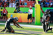 January 31 2016: Team Irvin Michael Bennett and Richard Sherman after Michael Bennett scored his negated touchdown during the Pro Bowl at Aloha Stadium on Oahu, HI. (Photo by Aric Becker/Icon Sportswire)