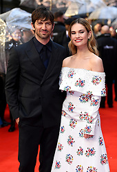 Michiel Huisman and Lily James attending the world premiere of The Guernsey Literary and Potato Peel Pie Society at the Curzon Mayfair, London. Photo credit should read: Doug Peters/EMPICS Entertainment