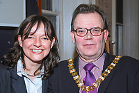 & Lord Mayor of Belfast, Tom Hartley, at reception to launch Belfast Book Week at the LInen Hall Library, Belfast, N Ireland, UK, with Paula McFetridge, Cabosh Theatre Company, Belfast,. 200902241814.<br />