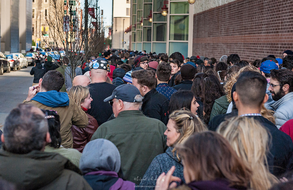 Moving along with the crowd to enter the Bernie rally in the Liacouras Arena on Temple's campus in Philadelphia, PA.