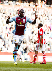 Aston Villa Forward Christian Benteke (BEL) celebrates scoring a goal - Photo mandatory by-line: Rogan Thomson/JMP - 07966 386802 - 23/03/2014 - SPORT - FOOTBALL - Villa Park, Birmingham - Aston Villa v Stoke City - Barclays Premier League.