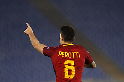 December 5, 2017 - Rome, Italy - Roma s Diego Perotti celebrates after scoring the winning goal during the Champions League Group C soccer match between Roma and Qarabag at the Olympic stadium. Roma won 1-0 to reach the round of 16. (Credit Image: © Riccardo De Luca/Pacific Press via ZUMA Wire)