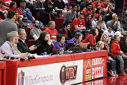 15 January 2016: Press Row during the Illinois State Redbirds v Evansville Purple Aces at Redbird Arena in Normal Illinois (Photo by Alan Look)