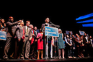 The newly elected mayor of Los Angeles, Eric Garcetti, giving his victory speech at the Hollywood Palladium.