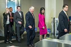 April 28, 2017 - New York, NY, United States - U.S. Secretary of State Rex Tillerson is seen arriving at UN Headquarters accompanied by U.S. Ambassador to the UN Nikki Haley. The United Nations Security Council convened a ministerial-level meeting regarding the ongoing nuclear threat posed by the Democratic People's Republic of Korea. The meeting, presided over by U.S. Secretary of State Rex Tillerson, comes at the conclusion of the United States' month-long tenure as President of the Security Council. (Credit Image: © Albin Lohr-Jones/Pacific Press via ZUMA Wire)